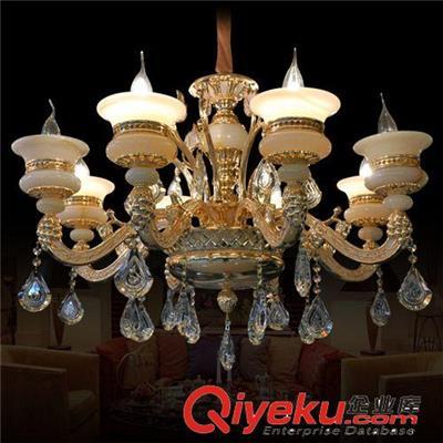 锌合金天然玉石吊灯 蜡烛水晶吊灯