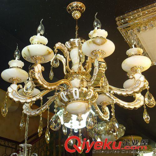 【厂家直批奢华欧式玉石蜡烛水晶吊灯客厅灯饰灯具灯