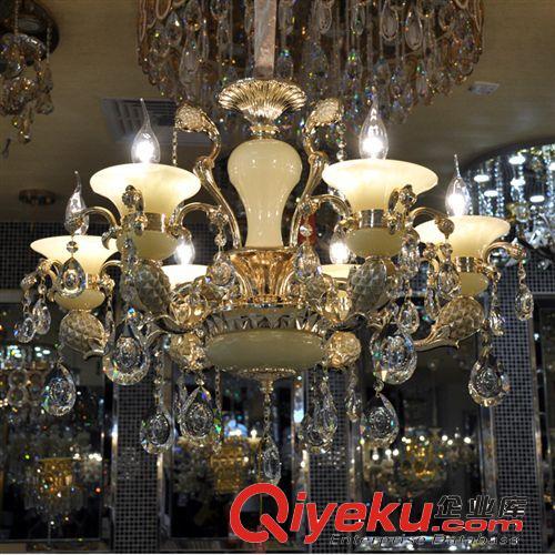 进口玉石锌合金吊灯 蜡烛水晶吊灯