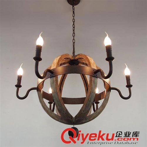 【木头灯复古吧台美式乡村工业餐厅客厅欧式创意酒桶