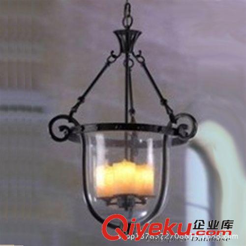 【欧式铁艺吊灯大号青光玻璃罩单锅灯饰玄关餐厅吧台