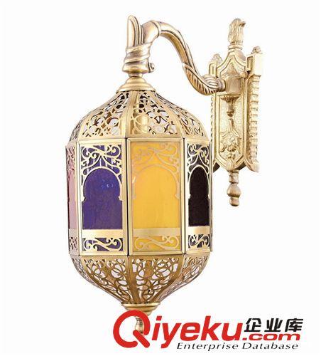 【欧式全铜镂空壁灯 阳台庭院门头彩色玻璃吊灯