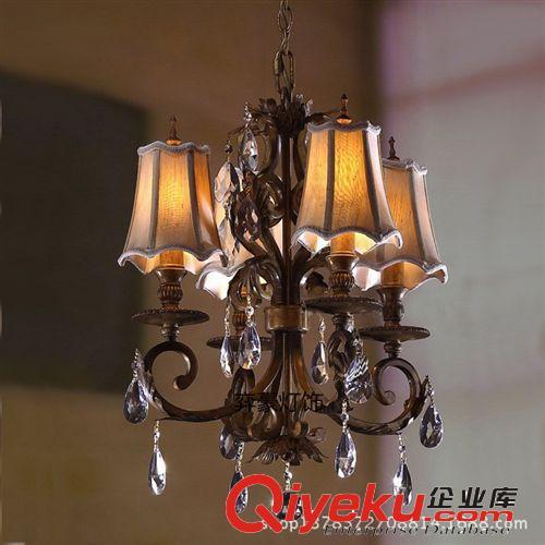 【古铜色铁艺四头小吊灯欧式餐厅灯圆桌饭厅地中海】