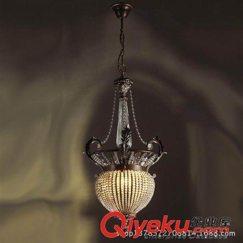 欧式铁艺水晶吊灯 单锅绑珠子渴望灯具 玄关楼梯间单头美式田园灯图片