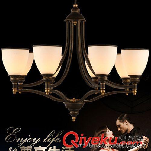 欧式铁艺六头吊灯 仿古黑色简约北欧风格灯具