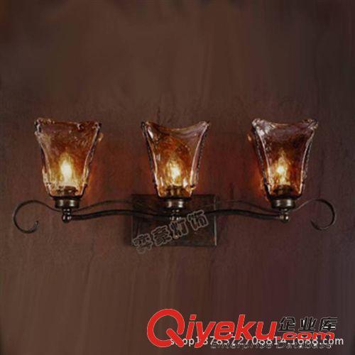【欧式铁艺双头壁灯 黑色琉璃罩高档仿古卧室床头镜