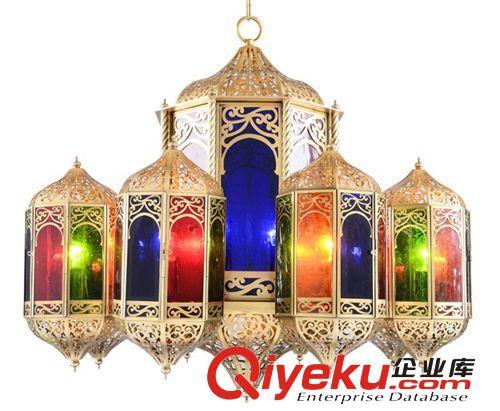 欧式全铜宫廷吊灯 奢华彩色玻璃别墅宫灯