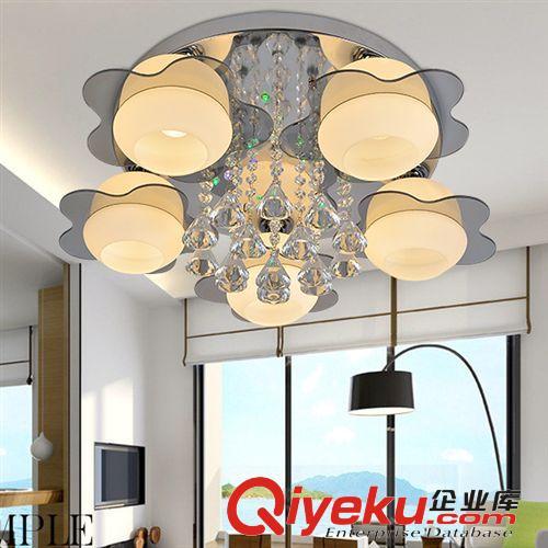 【客厅简约灯 圆形无线摇控led七彩平板水晶灯不锈钢