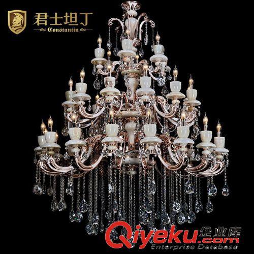 厂家直销欧式玉石水晶吊灯锌合金蜡烛水晶灯欧式吊灯