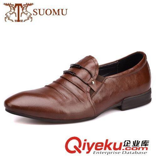 高端水牛皮 广东鹤山精工鞋厂直供 小水牛韩版小尖头皮鞋 潮流那些软
