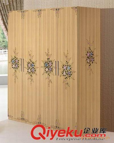 衣柜 现代时尚简约卧室板式家具金丝柚木系列五门衣柜
