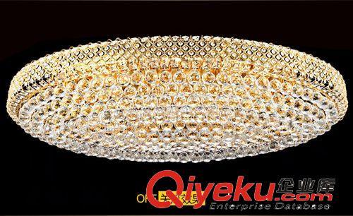 欧式金色led椭圆形水晶灯创意长方形客厅吸