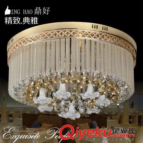 【欧式吸顶灯 新款圆形led水晶平板低压灯花瓣灯客厅