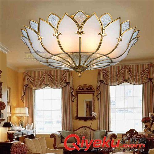 查看工程定制灯系列 欧式奢华莲花灯 高端全铜宝莲灯 美式客厅灯 半吊