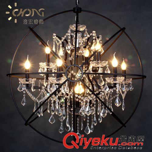 高端水晶吊灯复古风欧式新古典铁艺陀螺仪水晶吊灯具