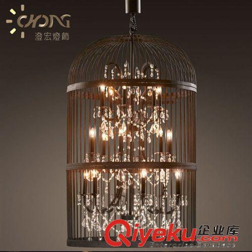 鸟笼水晶铁艺吊灯工业风设计师的欧式做旧复古水晶吊