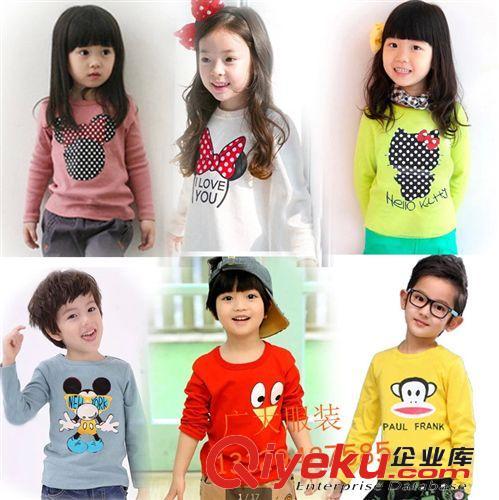 儿童服装 供应韩版童装童T恤 批发男女童卡通圆领长袖T恤  厂家直销