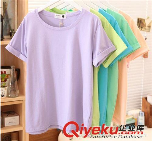 女式服装 韩版夏季新款女式短袖圆领t恤 库存服装T恤 女 低价批发