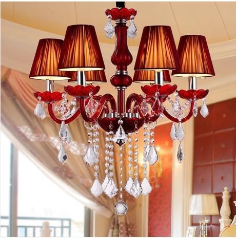 红色蜡烛水晶吊灯浪漫时尚欧式卧室灯