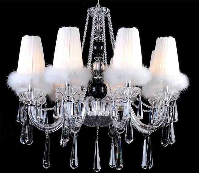 现代简约欧式羽毛罩吊灯玻璃管蜡烛灯客厅餐厅卧室书房水晶灯具(图)