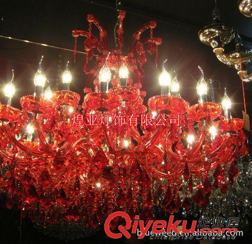 供大红色水晶灯,喜庆蜡烛大堂吊灯,欧式水晶大吊灯,酒店客厅灯