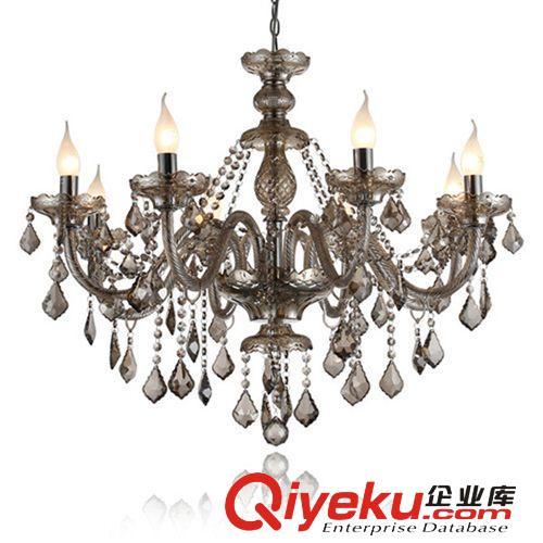 厂家直销 欧式高档烟灰色水晶蜡烛吊灯 豪华餐厅客厅吊顶灯 7004转发