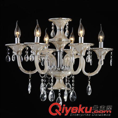 厂家直销 欧式高档k9干邑色水晶蜡烛灯 豪华餐厅客厅吊顶灯 7008