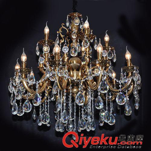 厂家直销 欧式锌合金青古铜水晶蜡烛灯 客厅餐厅卧室吊顶灯 5029(图)