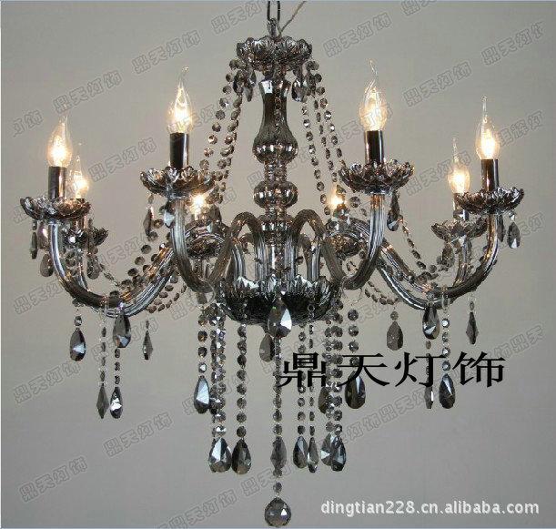 欧式水晶蜡烛灯 k9烟灰色水晶