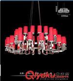 星级酒店会所不锈钢铁艺大堂别墅工程玻璃布罩红色订做大吊灯