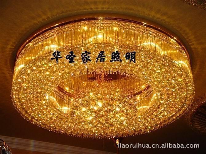 100%正品传统金色水晶灯酒店中式客厅灯卧室灯饰led吸
