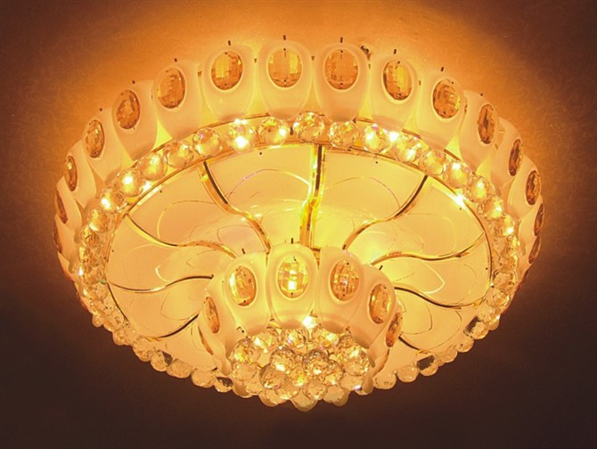 【批发圆形欧式奢华传统黄水晶灯客厅灯卧室吸顶灯