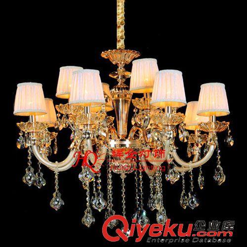 定做欧式现代香槟金色客厅2层12头水晶吊灯 玻璃管灌漆蜡烛灯(图)
