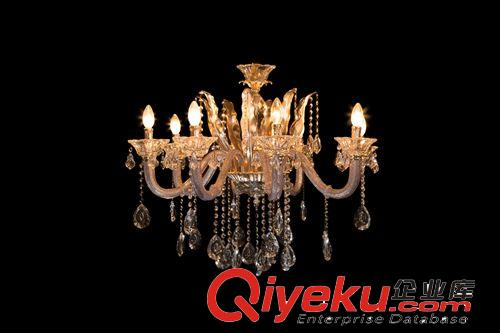 新品欧式现代蜡烛水晶玻璃管吊灯客厅餐厅