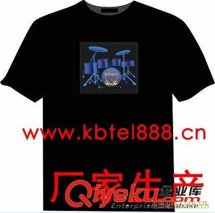 东莞厂家批发订做EL音乐T恤 EL冷光片 DJT恤 炫彩T恤 敲敲鼓T恤
