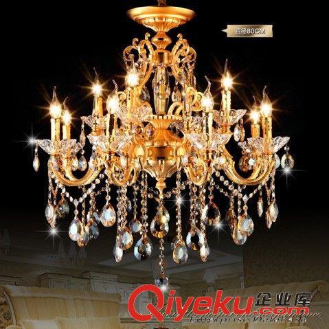 欧式蜡烛水晶吊灯 金色双层锌合金水晶大吊灯