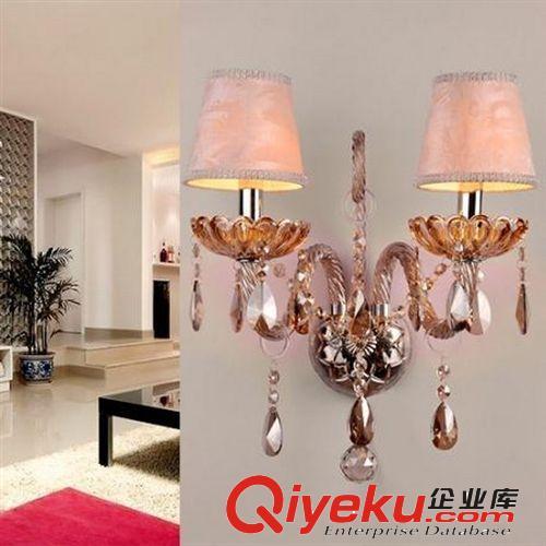 特价欧式风格水晶壁灯 客厅 卧室 干邑色床头灯双头镜