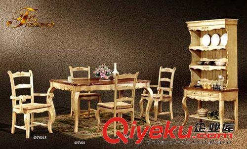 广东家具实木板式彩绘家具田园风格家具餐厅成套家具别墅会所家具原图