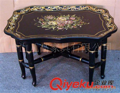 欧美仿古实木板式客厅家具彩绘家具竹节黑色束花托盘(图)图片