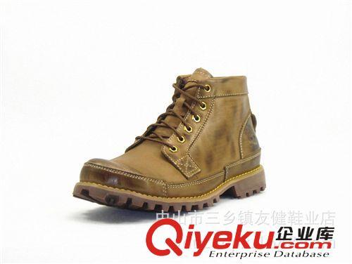 批发外贸真皮户外休闲男装皮靴工装男中帮皮鞋做旧复古工作鞋(图)