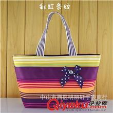 7011厂家批发时尚印花高档大容量撞色女式帆布包蝴蝶结手提包