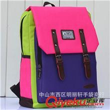 504新款森女系女包多用双肩包学生背包欧美旅行撞色拼接潮包