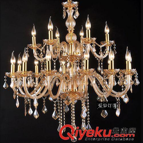 批发欧式水晶吊灯 时尚琥珀色欧式客厅别墅复式楼客厅灯饰 hf18