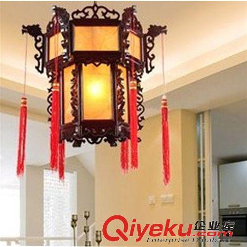 查看茶楼小吊灯 中式灯具 酒楼饭店过道走廊灯具 木艺羊皮灯笼原图图片
