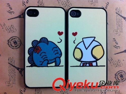 苹果iphone4 4s 手机壳小怪兽大象卡通贴皮闪粉情侣保护壳 配件