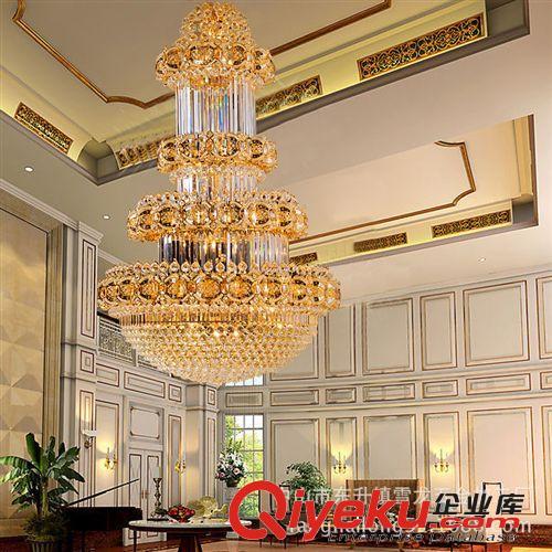 查看奢华高档欧式酒店工程复式楼客厅灯金色水晶吊灯