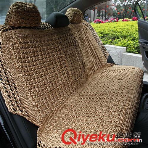 新款纯人工手编织冰丝汽车坐垫 高档四季座垫 五座通用车垫 批发