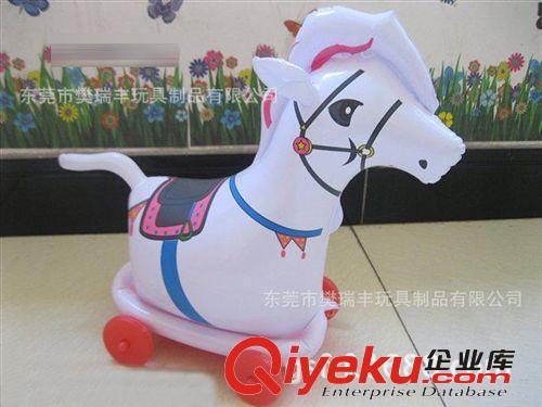 供应pvc儿童充气玩具 新款拉线动物车 充气马 充气龙 充气海豚