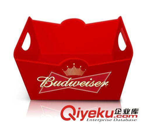 【新款百威24支装红色长方形塑料冰桶】新款百威24支