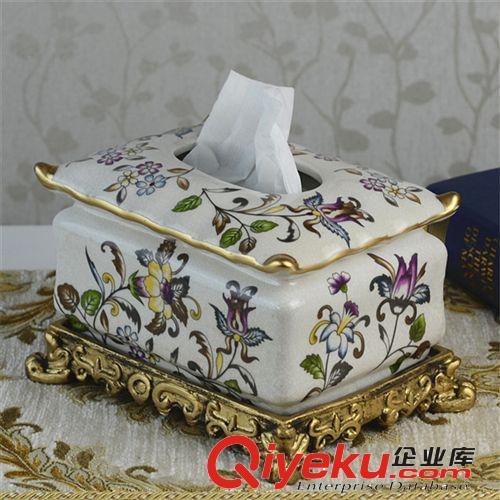【纸巾盒欧式奢华复古宫廷抽纸巾盒文艺复兴风格陶瓷